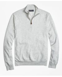 Brooks Brothers | Gray Supima® Cotton Half-zip Sweater for Men | Lyst