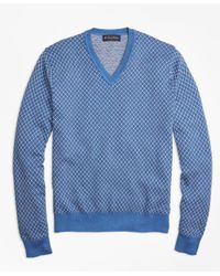 Brooks Brothers | Blue Supima® Cotton Cashmere Jacquard V-neck Sweater for Men | Lyst