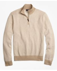 Brooks Brothers | Natural Supima® Cotton-cashmere Textured Half-zip Sweater for Men | Lyst