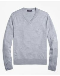 Brooks Brothers | Gray Lightweight Merino Wool V-neck Sweater for Men | Lyst
