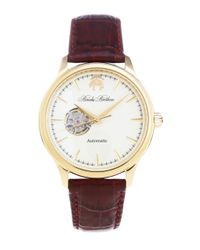 Brooks Brothers | Metallic Round Watch With Embossed Leather Band for Men | Lyst