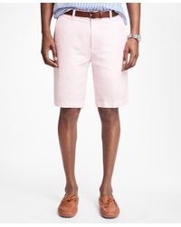 Brooks Brothers | Pink Houndstooth Cotton And Linen Bermuda Shorts for Men | Lyst