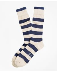 Brooks Brothers | Blue Marled Rugby Stripe Crew Socks for Men | Lyst