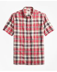 Brooks Brothers | Pink Plaid Crepe Madras Short-sleeve Sport Shirt for Men | Lyst