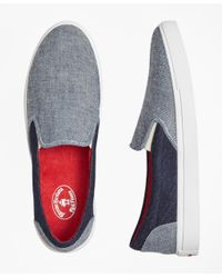 Brooks Brothers | Blue Denim Patchwork Slip-on Sneakers for Men | Lyst