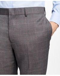 Brooks Brothers - Brown Slim-fit Plaid Stretch-wool Suit Trousers for Men - Lyst