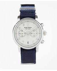 Brooks Brothers | Round White Face Watch With Nylon Band | Lyst
