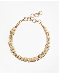 Brooks Brothers | Metallic Leather And Hammered Gold Bracelet | Lyst