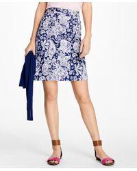 Brooks Brothers   Blue Paisley Print Ottoman Skirt   Lyst