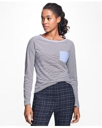 Brooks Brothers | Blue Stripe Jersey-knit Chambray Top | Lyst