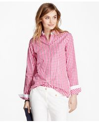 Brooks Brothers - Pink Gingham Cotton Poplin Blouse - Lyst