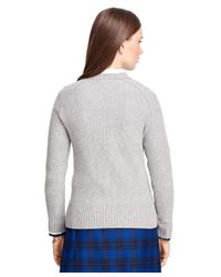 Brooks Brothers - Gray Cashmere Cable Sweater - Lyst