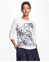 Brooks Brothers | White Merino Wool Rose Intarsia Sweater | Lyst