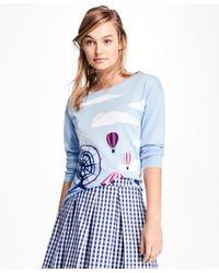 Brooks Brothers | Blue Cotton Intarsia Crewneck Sweater | Lyst