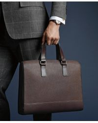 Brooks Brothers | Brown Saffiano Leather Slim Briefcase for Men | Lyst