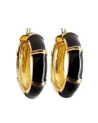 Brooks Brothers | Metallic Gold And Black Medium Hoop Earrings | Lyst