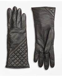 Brooks Brothers | Gray Cashmere Lined Quilted Leather Gloves | Lyst
