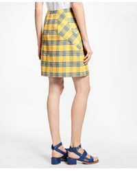 Brooks Brothers Purple A-line Cotton Plaid Skirt