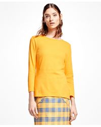 Brooks Brothers | Yellow Interlocked Cotton Boatneck Top | Lyst