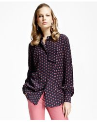 Brooks Brothers | Blue Printed Crepe Bow-tie Blouse | Lyst