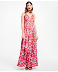 Brooks Brothers Red Floral-print Cotton Sateen Dress
