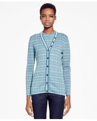 Brooks Brothers | Blue Double Jacquard Silk-blend Cardigan | Lyst
