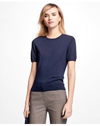 Brooks Brothers | Blue Short-sleeve Saxxon Wool Shell | Lyst