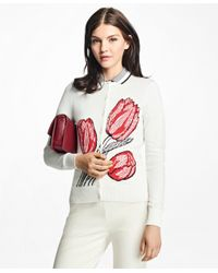 Brooks Brothers   White Supima® Cotton Tulip Intarsia Jacquard Cardigan   Lyst