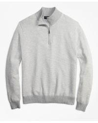 Brooks Brothers - Gray Honeycomb Pique Half-zip for Men - Lyst