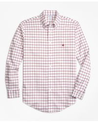 Brooks Brothers - Red Non-iron Regent Fit Windowpane Sport Shirt for Men - Lyst