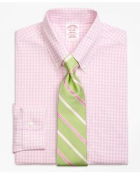 Brooks Brothers - Pink Madison Classic-fit Dress Shirt, Non-iron Twin Gingham for Men - Lyst