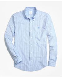 Brooks Brothers | Blue Supima® Cotton Ground Stripe Button-down Knit Shirt for Men | Lyst