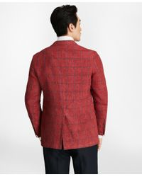 Brooks Brothers - Red Regent Fit Windowpane Linen Sport Coat for Men - Lyst