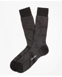 Brooks Brothers | Black Herringbone Crew Socks for Men | Lyst