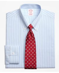 Brooks Brothers - Blue Madison Classic-fit Dress Shirt, Non-iron Twin Hairline Stripe for Men - Lyst