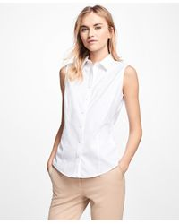 Brooks Brothers - White Non-iron Fitted Sleeveless Dress Shirt - Lyst