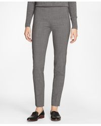 Brooks Brothers - Gray Slim-fit Micro-houndstooth Stretch-wool Pants - Lyst