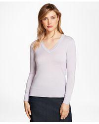 Brooks Brothers - Purple Saxxon Wool V-neck Sweater - Lyst