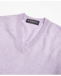 Brooks Brothers - Purple Silk And Cashmere V-neck Sweater for Men - Lyst