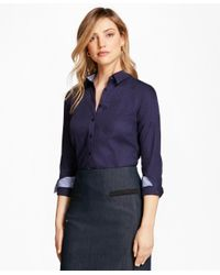 Brooks Brothers | Blue Tailored-fit Patchwork Jacquard Shirt | Lyst