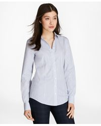 Brooks Brothers | Blue Non-iron Striped Cotton Poplin Fitted Shirt | Lyst