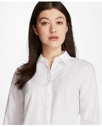 Brooks Brothers   Pink Non-iron Windowpane Cotton Dobby Fitted Shirt   Lyst