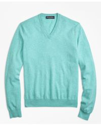 Brooks Brothers - Blue Silk And Cashmere V-neck Sweater for Men - Lyst