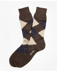 Brooks Brothers | Brown Argyle Crew Socks for Men | Lyst