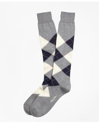 Brooks Brothers - Gray Cotton Argyle Over-the-calf Socks for Men - Lyst