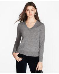 Brooks Brothers | Gray Saxxon Wool V-neck Sweater | Lyst