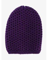 Inverni - Purple Chunky Wool Knitted Beanie - Lyst