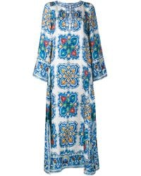 Dolce & Gabbana - Multicolor Maiolica Print Silk-twill Kaftan Dress - Lyst