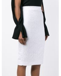 Givenchy - White Cloqué Pencil Skirt - Lyst