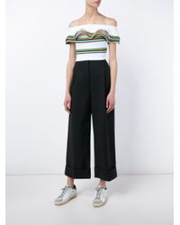 MSGM - White Off-the-shoulder Stripe Top - Lyst